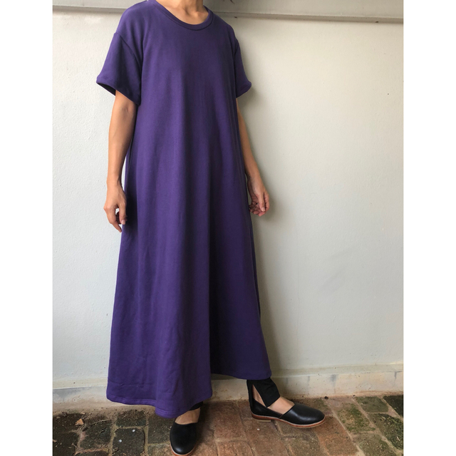 94e220e894b19 フレアマキシワンピース スエット 紫 Tシャツワンピース