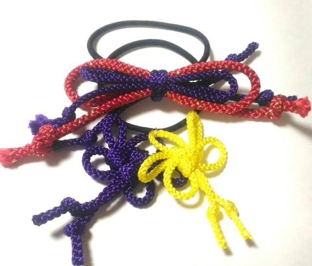 飾り紐のリボンと梅結び ヘアゴムセット