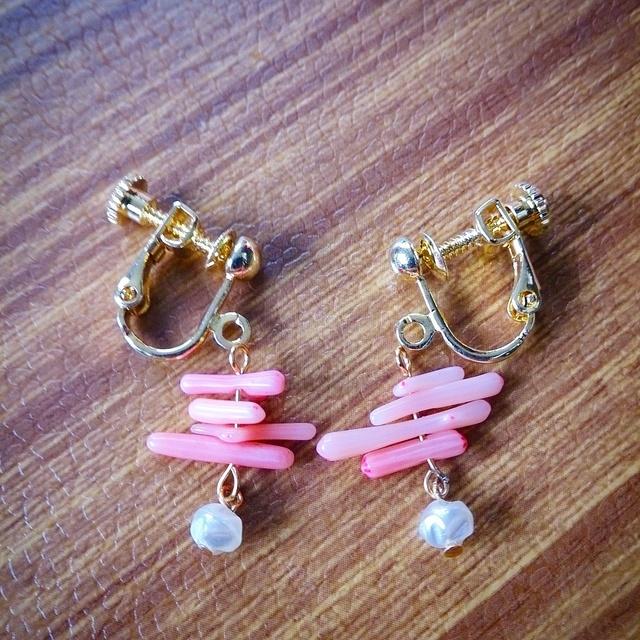 再販☆桃色珊瑚パール☆イヤリング