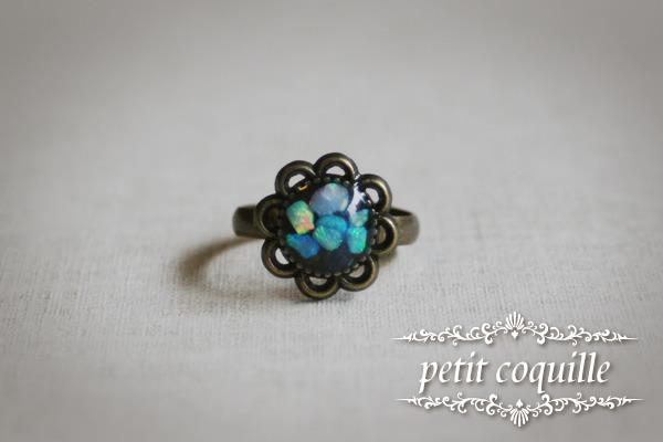 ブルーオパールのお花のリング(小)