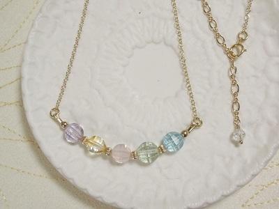 5種の宝石質天然石のネックレス #2
