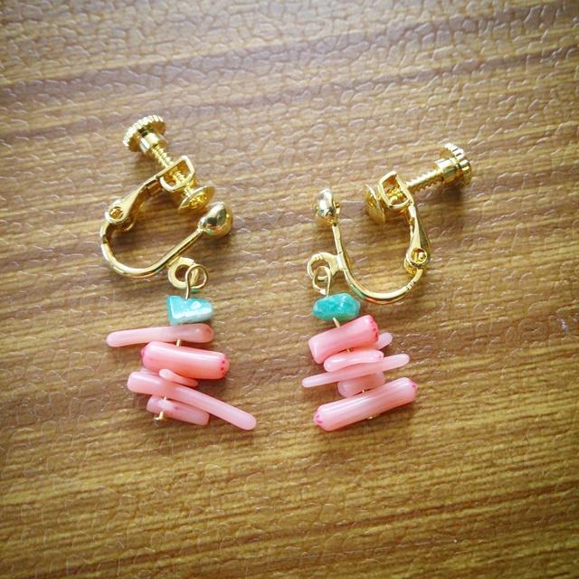 再2販☆アマゾナイト桃色珊瑚☆乙姫イヤリング