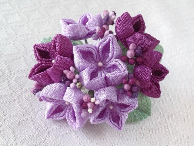 〈つまみ細工〉紫陽花の髪飾り(大・若紫と藤色)