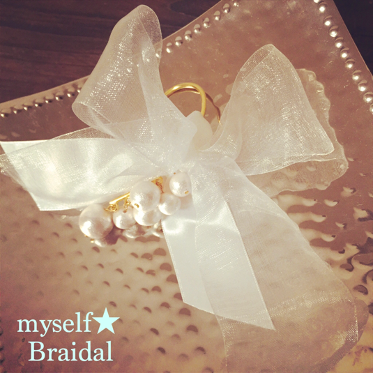 Bridal リボンのイヤーフック