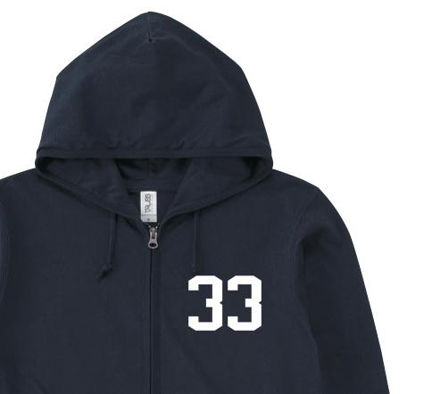 【再販】★Tシャツ生地★ナンバリング33 パーカー【受注生産品】