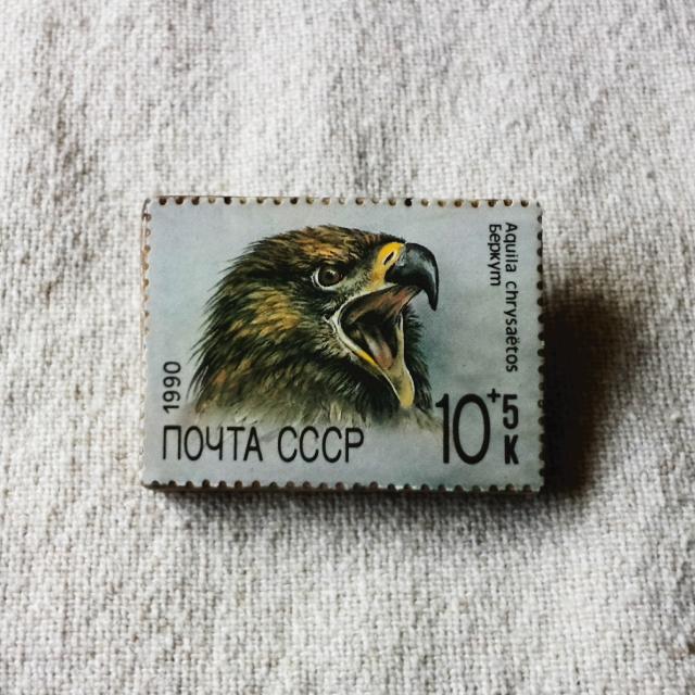 ロシアの切手ブローチ No.1