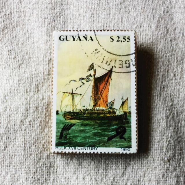 ガイアナの切手ブローチ No.1