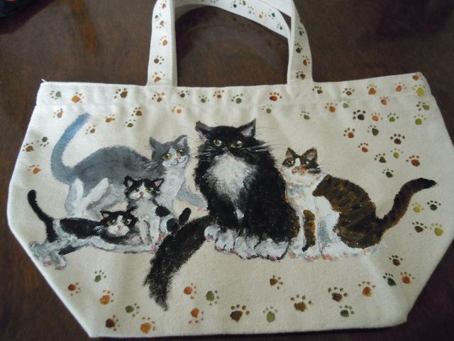 受注製作 手描きの猫ちゃんランチバッグ