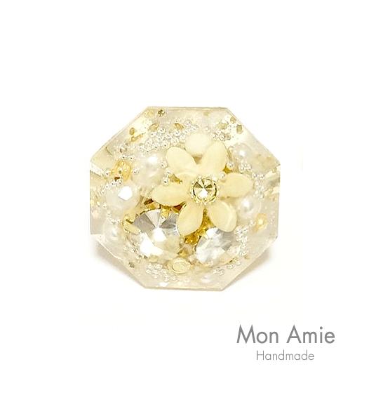 【送料無料】再販!Champagne Gold ☆ Diamond Ring(ダイヤ/クリア)