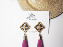 《特集掲載》antique earring < SQ black × purple>