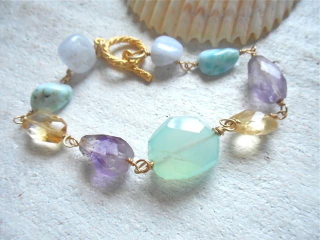 Mermaid's Treasure III  海色天然石のブレスレット