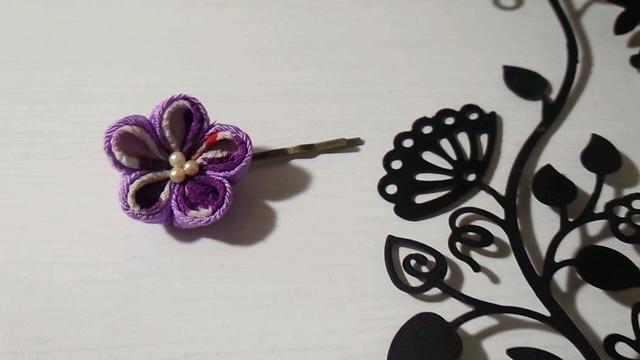 つまみ細工のヘアピン(紫)