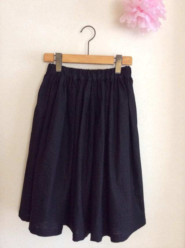 綿麻 ミモレ丈 シンプルギャザースカート for women,