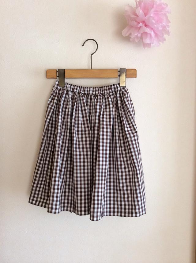 ギンガムチェック たっぷりギャザースカート for girls