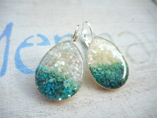 White&Blue Ocean earrings