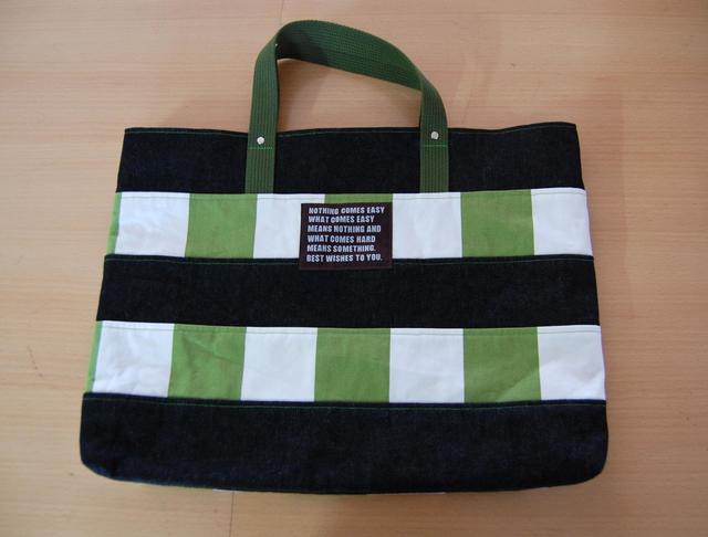 【2015年 販売終了】☆m様ご注文品☆ レッスンバック  ストライプボーダー  緑・黒デニム