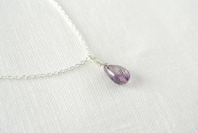 【silver925】エレスチャルクォーツ(紫)のネックレス