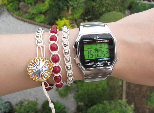 wrap bracelet (silver flower, garnet)