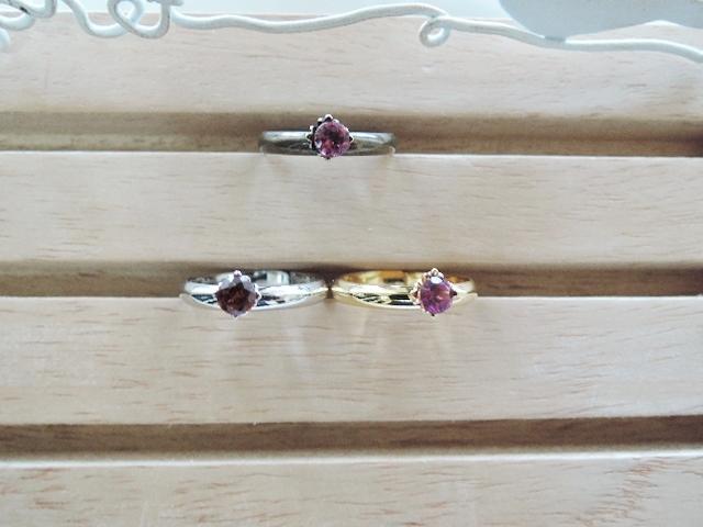 (742)再々販☆天然石の指輪 スズランリング☆ガーネット☆4?ラウンドファセットカット