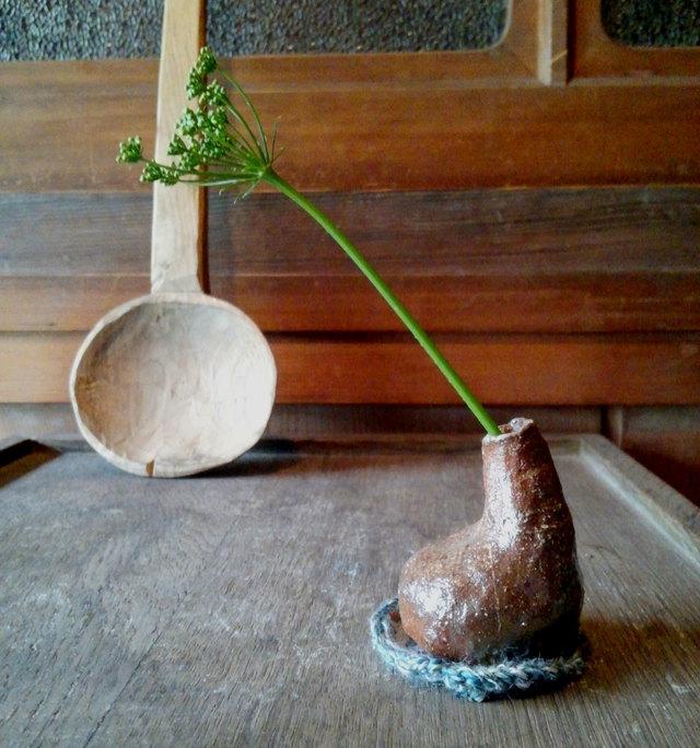 ちび花器 チョロリ 備前焼 お座布つき