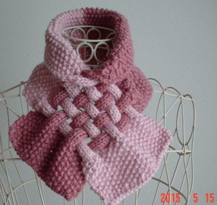 ☆彡鹿の子編み&braid模様のCowl(pinkのバイカラー)