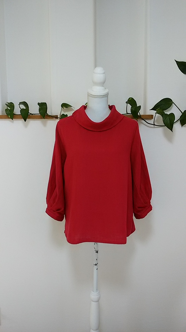 df0214207b7e6 Wガーゼ🌱バルーンカフス袖2wayロールカラー🌱ガーネット赤 ...