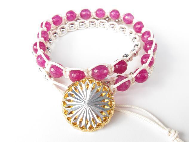 wrap bracelet (silver flower, rose alexandrite)
