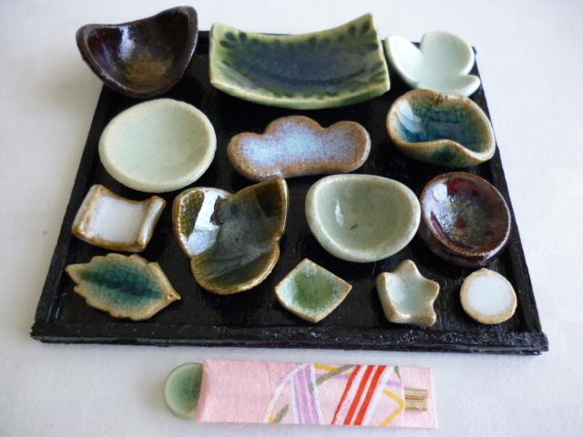 ミニチュア陶器☆会席膳 緑
