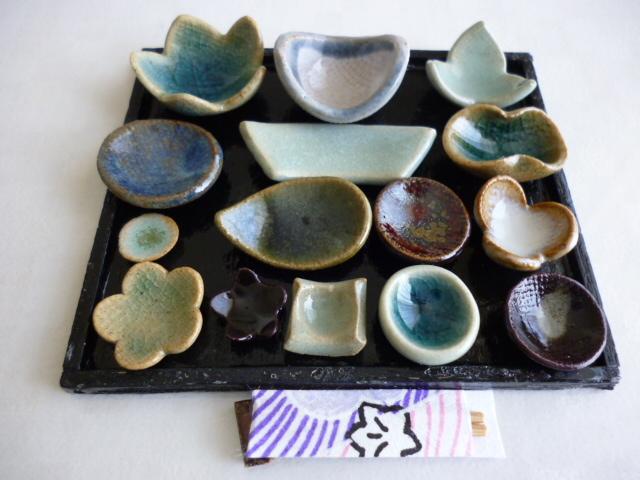 ミニチュア陶器☆会席膳 青白