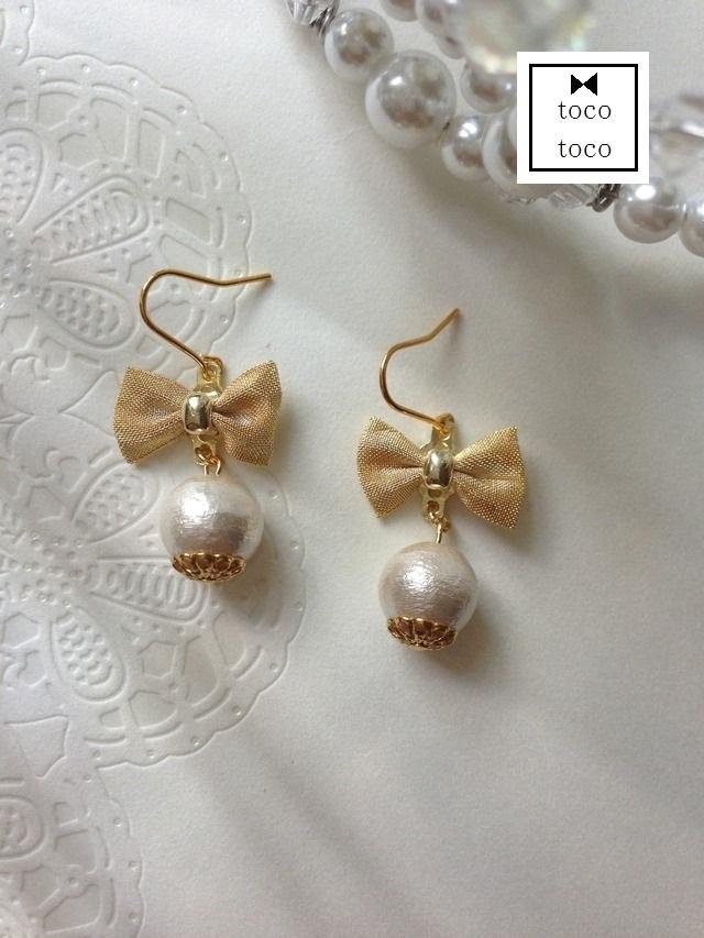 mesh ribbon pierce/earring