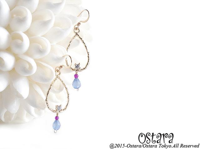 【14KGF】Earrings,CZ Teardrop,AAA Blue Chalcedony