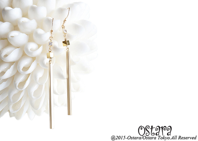 【14KGF】Earrings,CZ Skinny Stick,Tiny Gemstone Gold Hematite dice