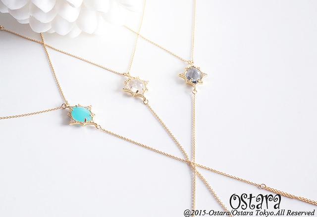 【14KGF】Ring Bracelet,16KGP CZ Frame,Marquise Glass