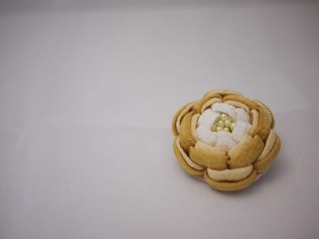 つまみ細工 牡丹のヘアピンブローチ(2w)