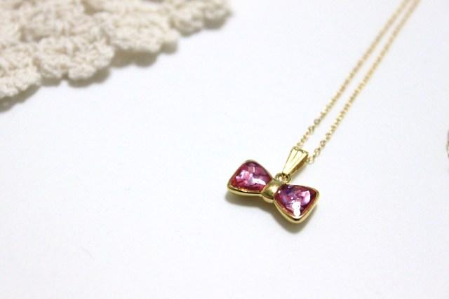 りぼんセッティング ネックレス 桃×紫シェル