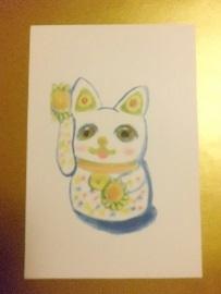 アートな招き猫のポストカード