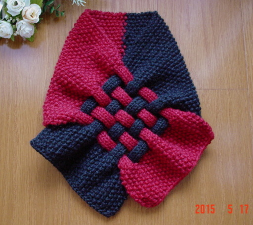 ☆彡鹿の子編み&braid編みのCowl(black&redのバイカラー)