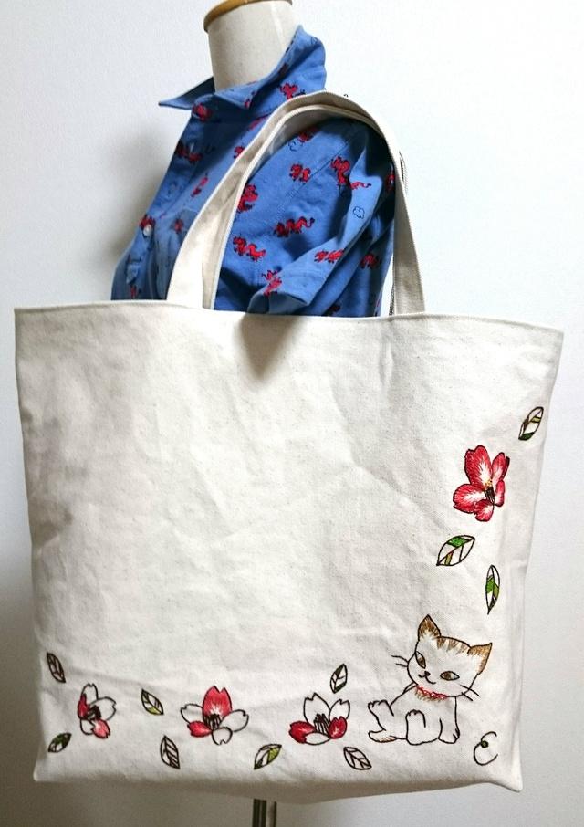 猫ちゃんと椿のBIGトートバッグ☆オーダー品☆