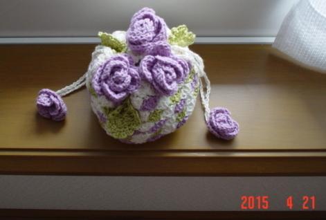 ☆彡コットンと刺繍糸かぎ針編みのお花巾着
