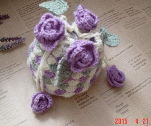 ☆彡ウールのかぎ針編みのお花巾着