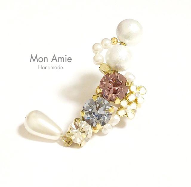 【送料無料】SALE!Gorgeous Bijou Flower Earcuff (ピンク系/左耳用)