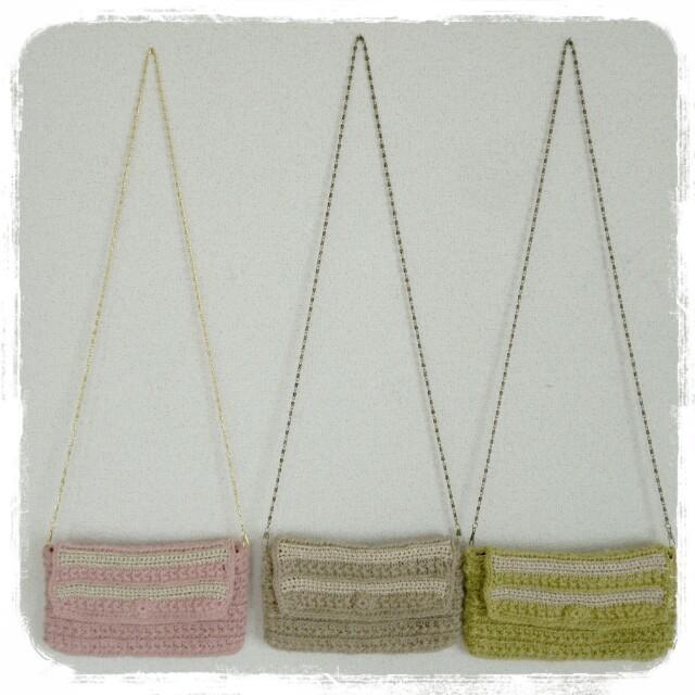 麻ひもで編んだカラーポシェット クラッチバッグ