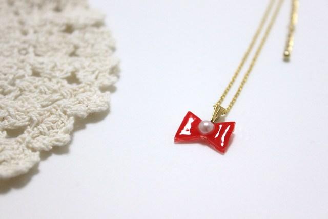 りぼんネックレス 赤