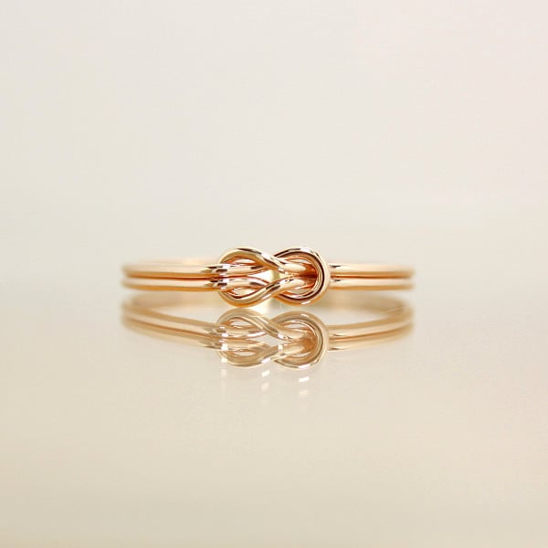 14kgf*ほんのりピンク*本結び*リング【金】Square knot rose gold ring