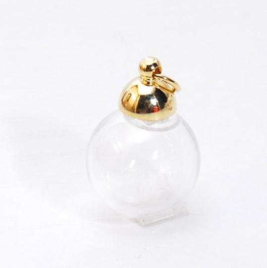 ガラスドーム ゴールドキャップのカン付 ガラスボール 硝子 レジン ネックレス ピアス アクセサリー パーツ