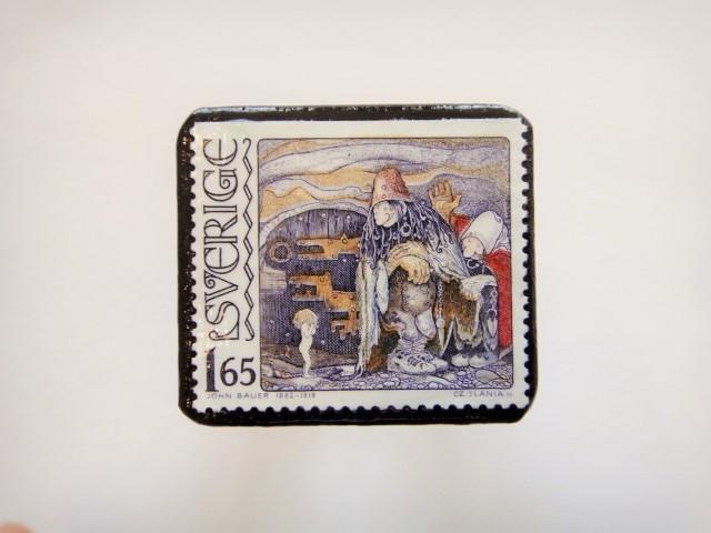 スウェーデン 神話 切手ブローチ936