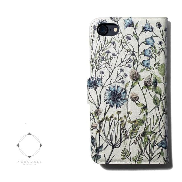149655a8cf 【両面デザイン】 iphoneケース 手帳型 レザーケース カバー(花柄×ブラック