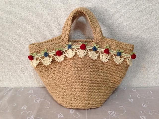 送料無料 ♪麻ひものかごバッグ お花のガーランドで可愛らしく♪