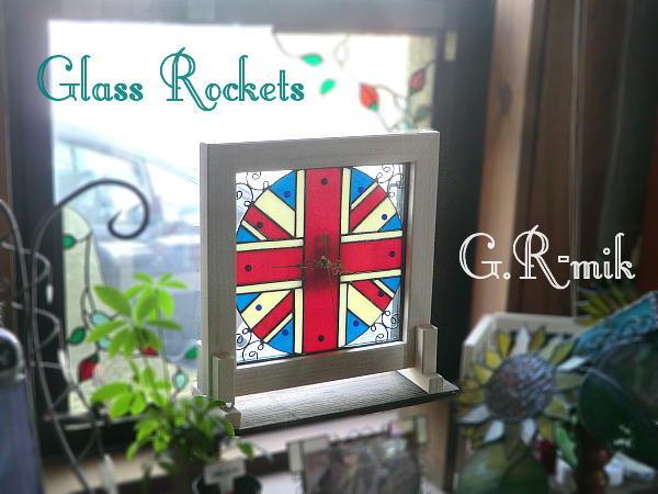 ステンドグラス ユニオンジャック  壁掛け 置き 時計 ギフト 再販