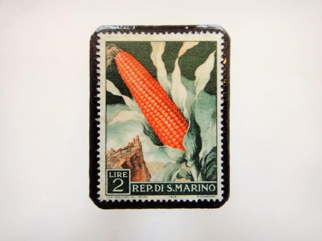 サンマリノ トウモロコシ切手ブローチ943